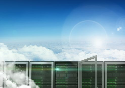 Data base server against sky in background