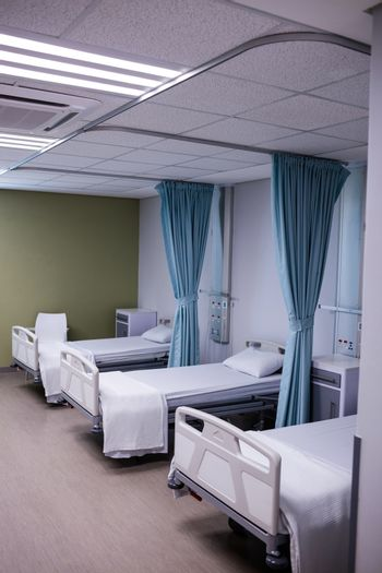 View of empty hospital beds in ward