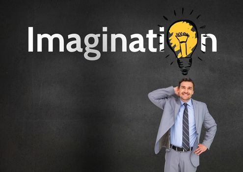 Thoughtful businessman standing with imagination text in background