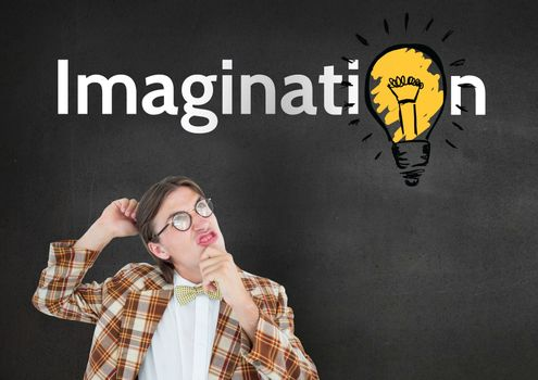 Confused nud man looking at imagination text with electric bulb