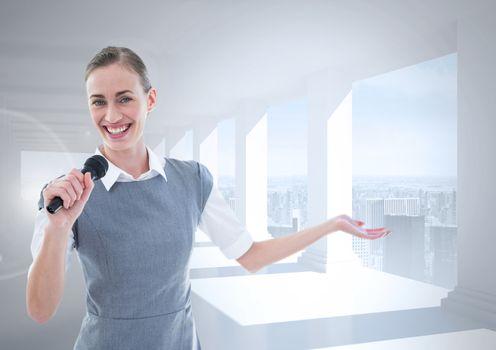 Businesswoman speaking on microphone