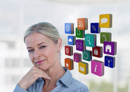 Female executive standing with hands on chin and appliction icons