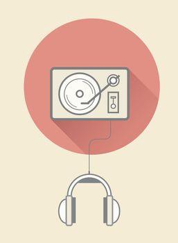Retro vinyl player with headphones