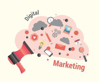 Digital marketing vector with loudspeaker