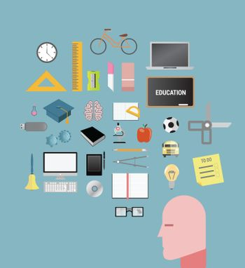 Digitally generated education and learning vector on blue