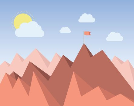 Red flag at the top of a mountain range
