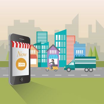Online shopping and retail concept illustration