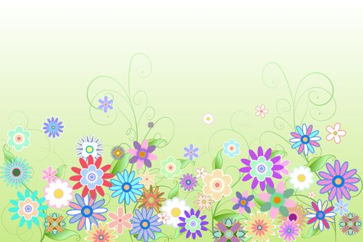 Digitally generated girly floral design