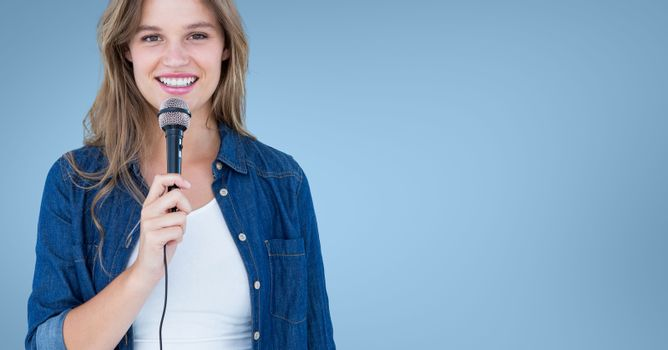 Woman speaking on microphone