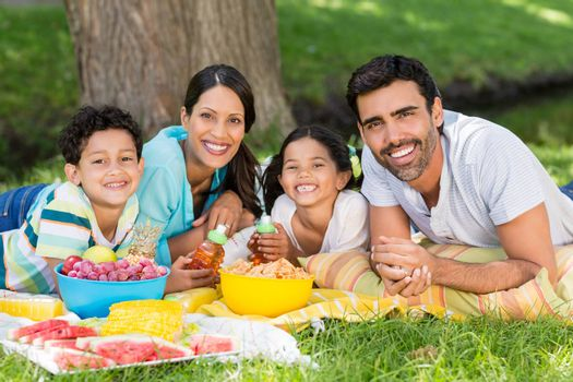 Portrait of happy family enjoying together in park on a sunny day