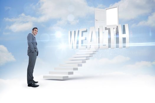 Wealth against steps leading to open door in the sky