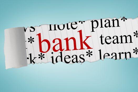 Bank against blue vignette