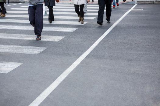 Pedestrians crossing the road