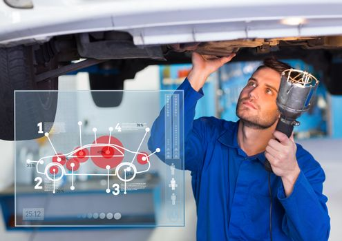 Automobile mechanic working in garage and mechanic interface