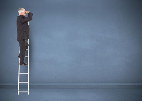 Businessman on ladder looking at a distance