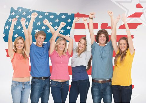 Friends celebrating against american flag in background