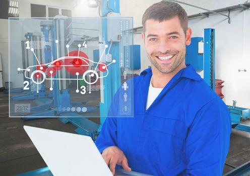 Portrait of a happy automobile mechanic holding laptop