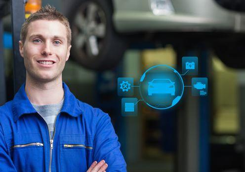 Portrait of a confident automobile mechanic and mechanic interface