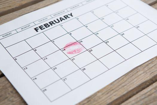 Lipstick mark on 14th february date of the calendar
