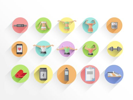 Dieting and fitness vectors in colourful tiles
