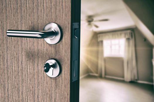 Composite image of brown door with doorknob and key