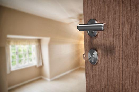 Composite image of brown door with key