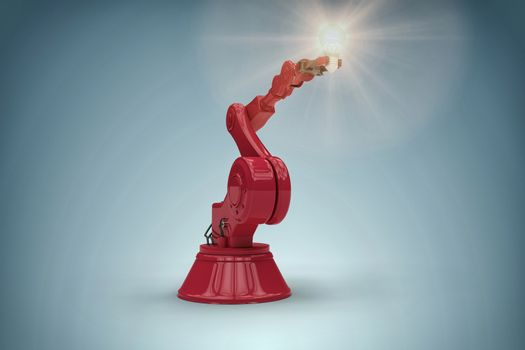 Composite image of graphic image of robotic arm holding filament 3d