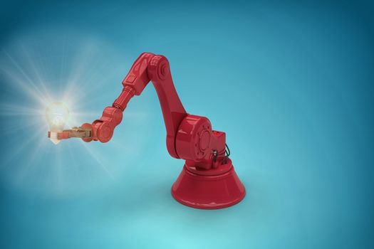 Composite image of digital generated image of red robotic arm holding filament 3d