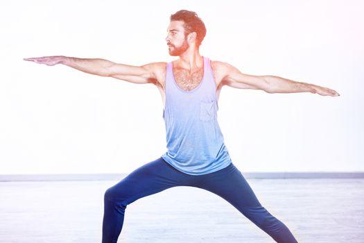 Man performing warrior pose
