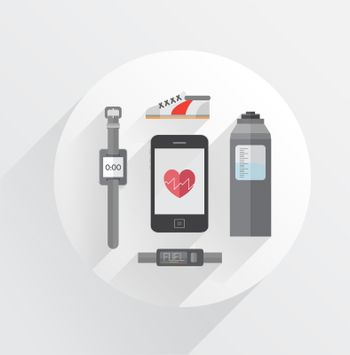 Dieting and fitness vector in grey tones