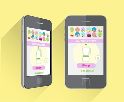 Dieting and fitness app on smartphone screen