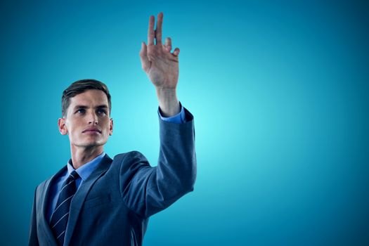Composite image of young sophisticated businessman gesturing