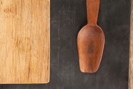 Wooden board and wooden spoon