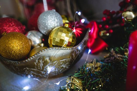 Close-up of christmas bauble in bowl