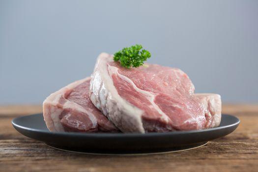 Sirloin chop in black plate