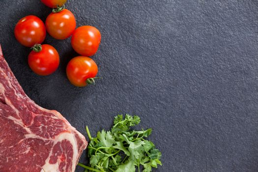Sirloin chop and ingredients