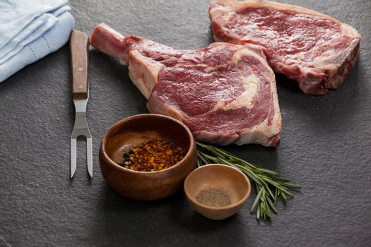 Rib chop, sirloin chop and ingredients
