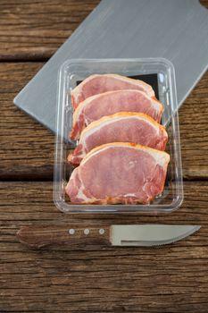 Sirloin chops in plastic box