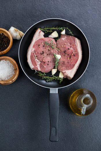 Sirloin chop in frying pan with ingredients