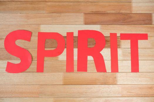 Word spirit on table