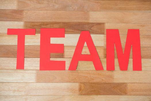 Word team on table