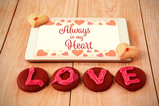 Web against love sweets with a touchpad
