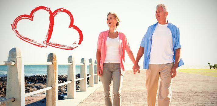 happy couple walking on footpath
