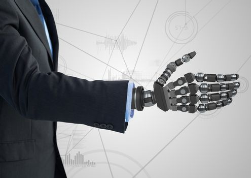 Businessman with robotic hand against white background