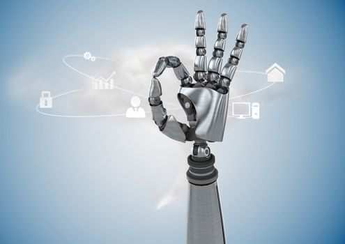 Robotic hand gesturing against digitally generated background
