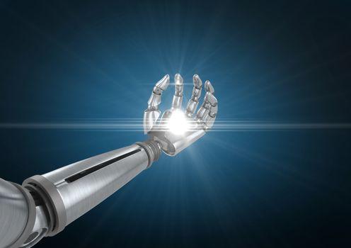 Robotic hand with illuminated light against blue background