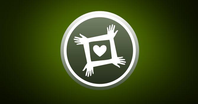Charity icon against green background