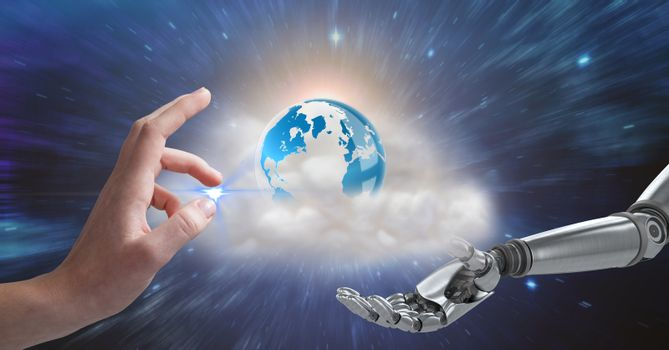 Human and robotic hand gesturing against globe in background