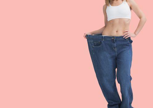 Dieting woman in big pant