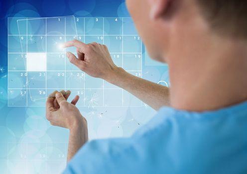 Doctor using futuristic touchscreen